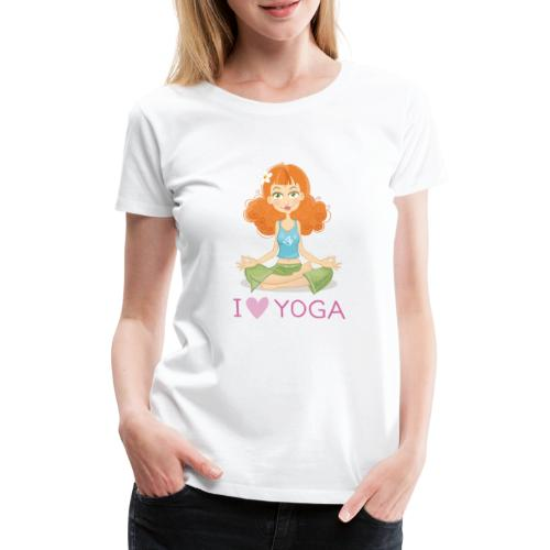 Yoga Lotus Pose Cartoon Girl - Frauen Premium T-Shirt
