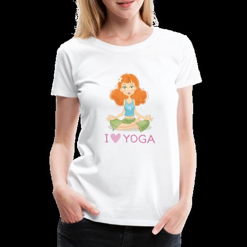 Yoga Lotus Pose Cartoon Girl - Frauen Premium T-Shirt