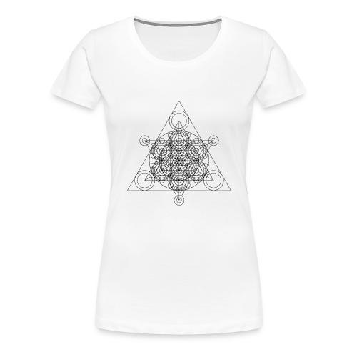 Sacred Geometry Seed, Flower. Tree Black - Women's Premium T-Shirt