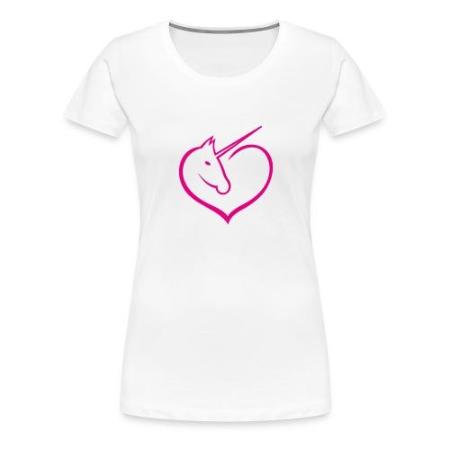 I love unicorns Pink Unicorn inside a heart - Camiseta premium mujer