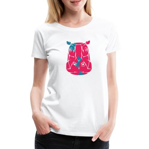 Hippo in pink and blue - Women's Premium T-Shirt