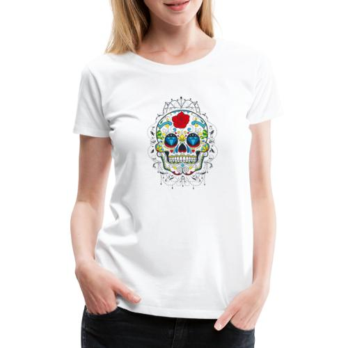 Rose und Diamantschädel - Frauen Premium T-Shirt
