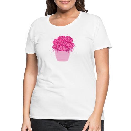 Ranunkeln, Blumen in Pink handgezeichnet - Frauen Premium T-Shirt
