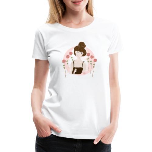 fille avec des roses rouges - T-shirt Premium Femme