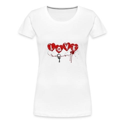 Love HERZSCHLÜSSEL Blutsp - Frauen Premium T-Shirt