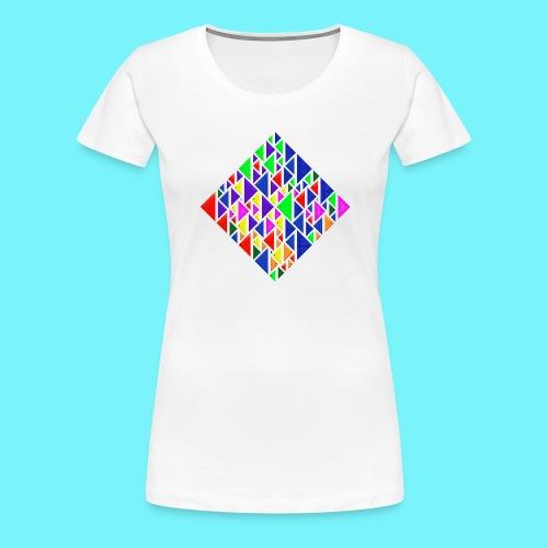 A square school of triangular coloured fish - Women's Premium T-Shirt