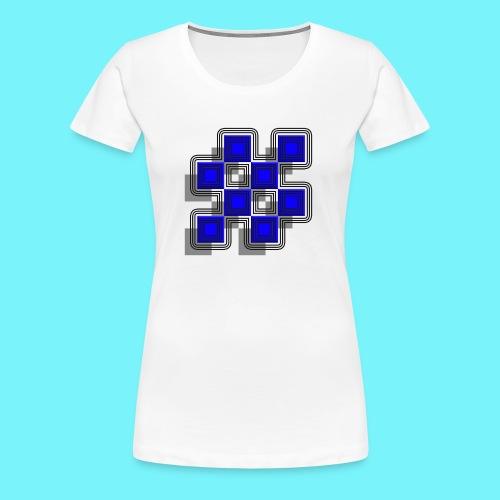 Blue Blocks with shadows and perimeters - Women's Premium T-Shirt