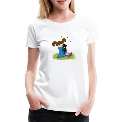 Katzenliebe - Mädchen knuddelt ihre schwarze Katze - Frauen Premium T-Shirt