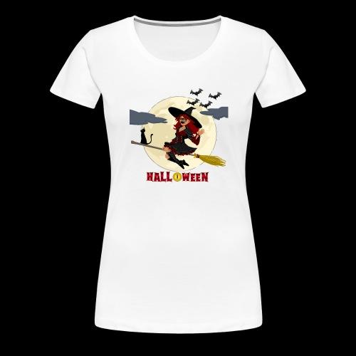 Halloween - Hexe auf Besen - Frauen Premium T-Shirt