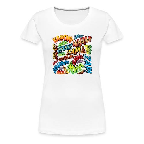 Comic Book Pop Art Colorful Typography Pattern - Women's Premium T-Shirt