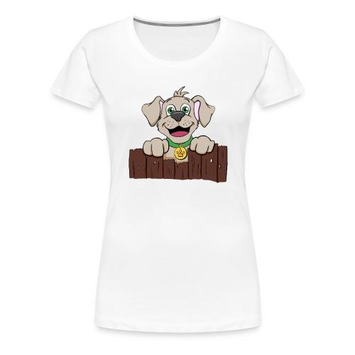 Kleiner Hund schaut über Zaun - Frauen Premium T-Shirt