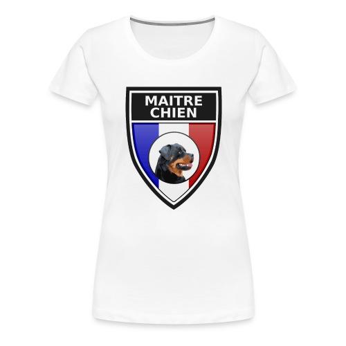 Ecusson noir maitre-chien rottweiller - T-shirt Premium Femme