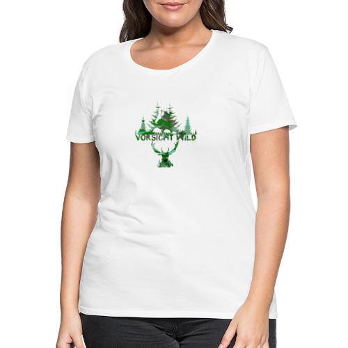 Vorsicht Wild, maske,wald, hirsch,malerei,bunt - Frauen Premium T-Shirt