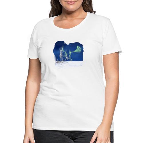 hiver avec des aurores boréales - T-shirt Premium Femme