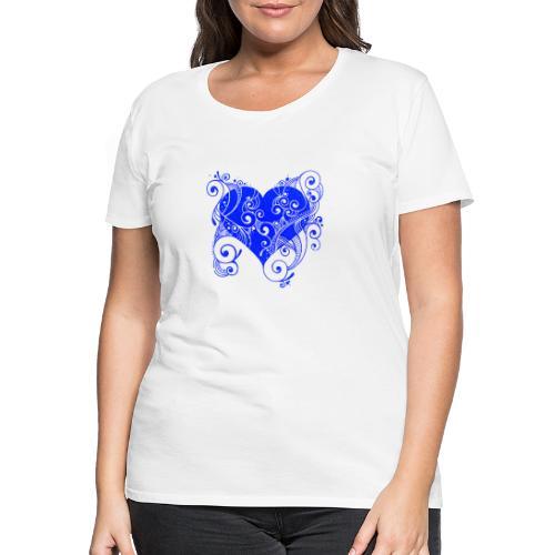 Herz in blau - Frauen Premium T-Shirt