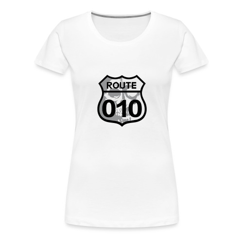 ROUTE-O10-skull-rugpatch-2-png - Vrouwen Premium T-shirt