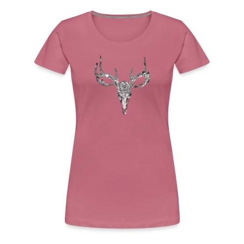 Deer skull with rose - Naisten premium t-paita