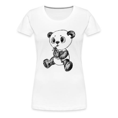 Panda bjørn sort scribblesirii - Dame premium T-shirt