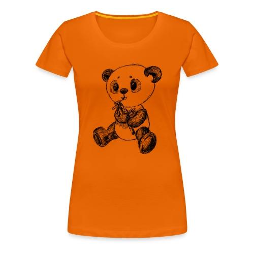 Panda Karhu musta scribblesirii - Naisten premium t-paita