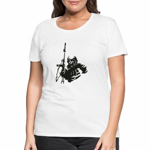 Soldier rifle helmet war World War II gear military - Women's Premium T-Shirt