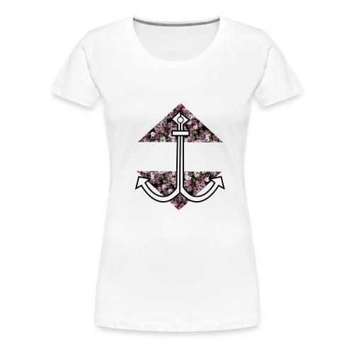 Anker mit Blumenmuster - Frauen Premium T-Shirt
