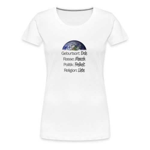 Geburtsort Erde - Frauen Premium T-Shirt