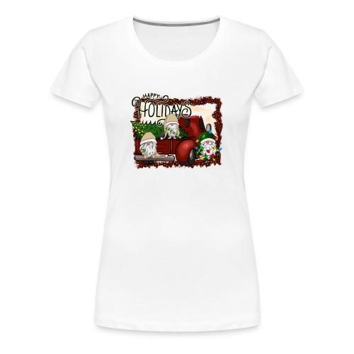 happy holidays gnomes Christmas Truck - Women's Premium T-Shirt