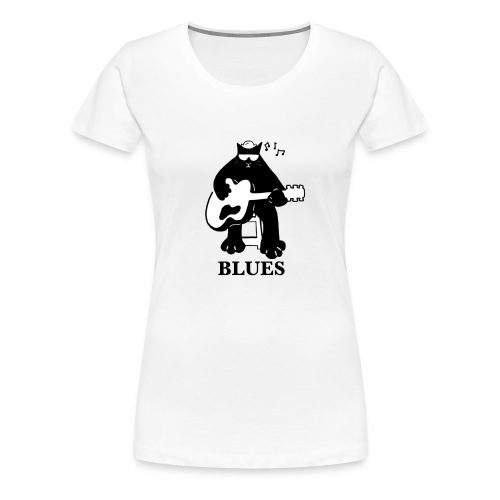 Blues Music Cat Guitar - Women's Premium T-Shirt