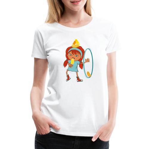 Happy Girl mit Eis, Vögeln und HulaHoop - Frauen Premium T-Shirt