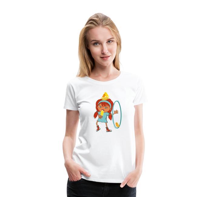 Happy Girl mit Eis, Vögeln und HulaHoop