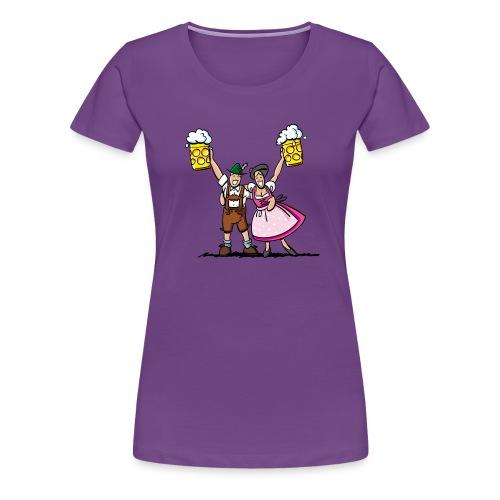 Fröhliches Oktoberfest Paar mit Bierkrug - Frauen Premium T-Shirt