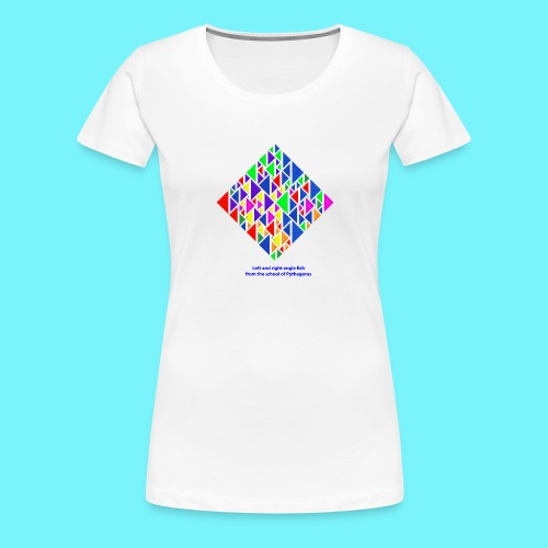 Left and right angle fish, school of Pythagoras - Women's Premium T-Shirt