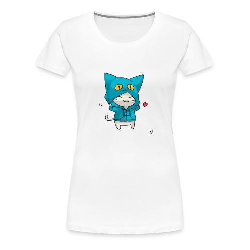 Gato con traje azul - Camiseta premium mujer