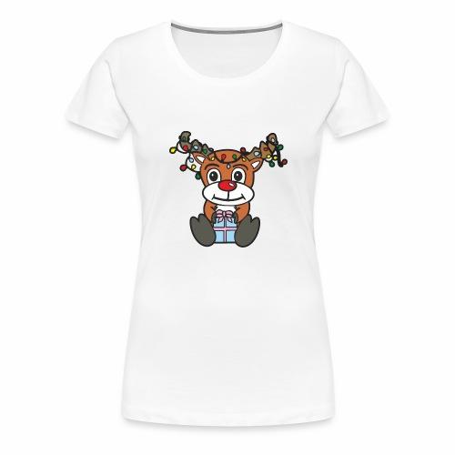Rentier mit Lichterkette - Frauen Premium T-Shirt