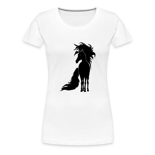 Pferd mit mähne schwarz - Frauen Premium T-Shirt