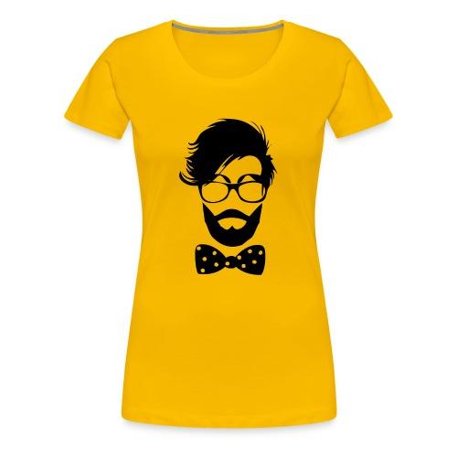 hipster_med_briller_og_butterfly - Dame premium T-shirt