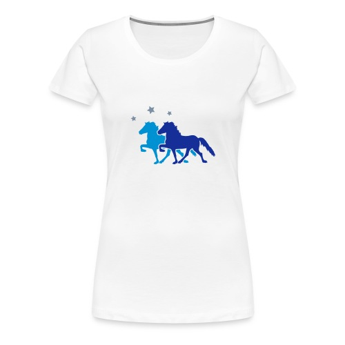 Two Horses with silver-metallic Stars - Women's Premium T-Shirt