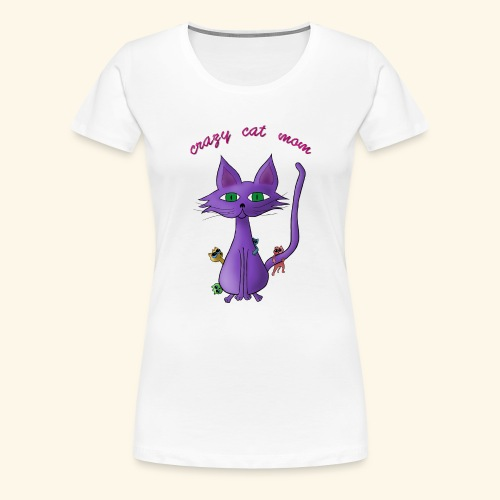 crazy cat mom - Frauen Premium T-Shirt