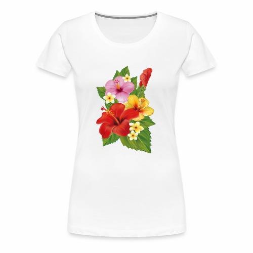 Flor de Verano Rosas y flores verdes - Camiseta premium mujer