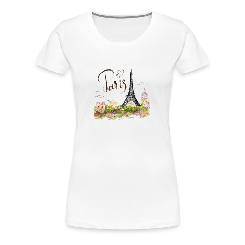 eiffel tower drawing - Frauen Premium T-Shirt