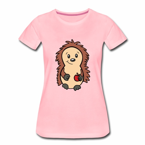 Igel mit Apfel in der Hand - Frauen Premium T-Shirt