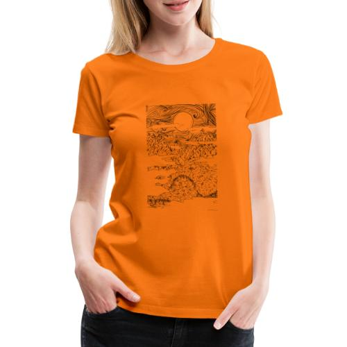 doodle montagna, disegno scena naturale notturna - Maglietta Premium da donna