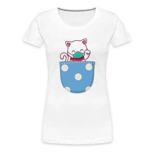 Gatito blanco en bolsillo de bolitas - Camiseta premium mujer