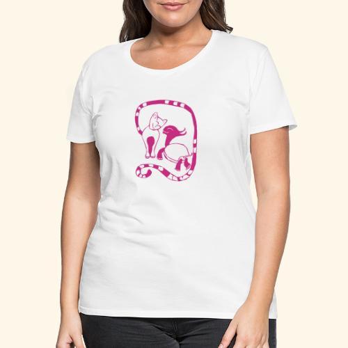 Katze und Schildi - Frauen Premium T-Shirt