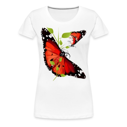 TWO BRIGHT ORANGE BUTTERF - Women's Premium T-Shirt