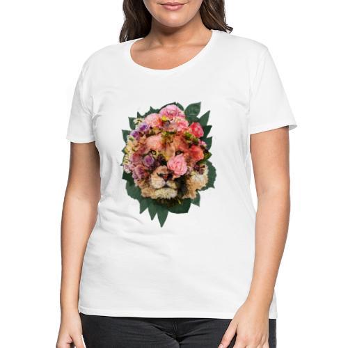 Ritratto leone fiori in doppia esposizione - Maglietta Premium da donna