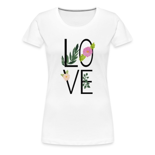 Love Sign with flowers - Women's Premium T-Shirt