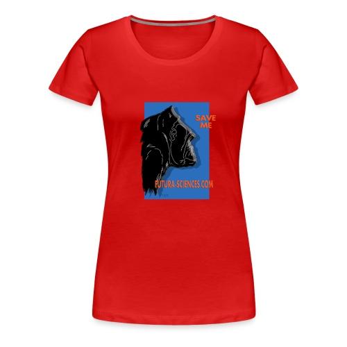 gorille fond bleu - T-shirt Premium Femme