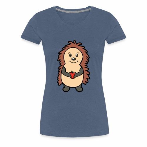 Igel mit Apfel in den Händen - Frauen Premium T-Shirt