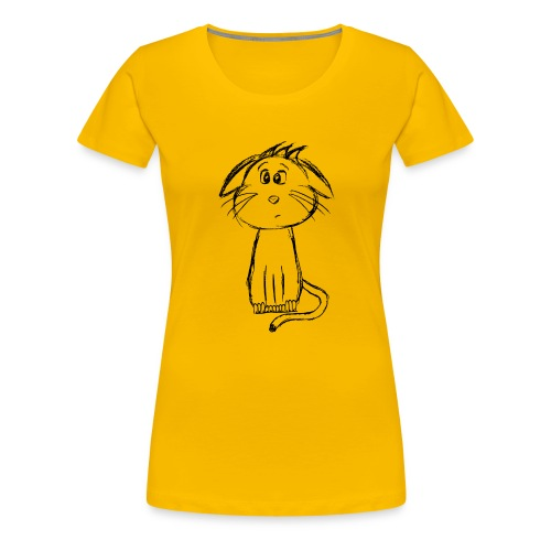 Kissa Kissanpentu musta scribblesirii - Naisten premium t-paita